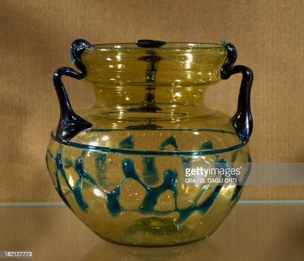 Glass vase from Tyre Lebanon Roman Civilisation 4th century Beirut National Museum Of Beirut