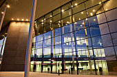 Glass walls of modern building