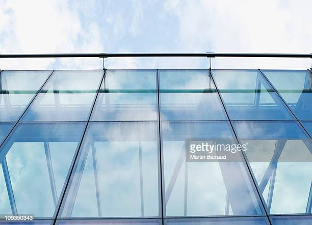 Glass walls of modern office building