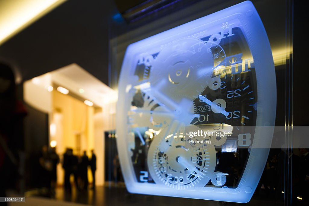 A glass watch design sits on display in the promotional booth of watchmaker Richard Mille during the first day of the Salon International de la Haute Horlogerie (SIHH) watch fair in Geneva, Switzerland, on Monday, Jan. 21, 2013. The Swiss watch industry slowed in the second half of 2012 as sales of timepieces and jewelry in Hong Kong, the biggest market for Swiss watchmakers, declined in August and October. Photographer: Valentin Flauraud/Bloomberg via Getty Images