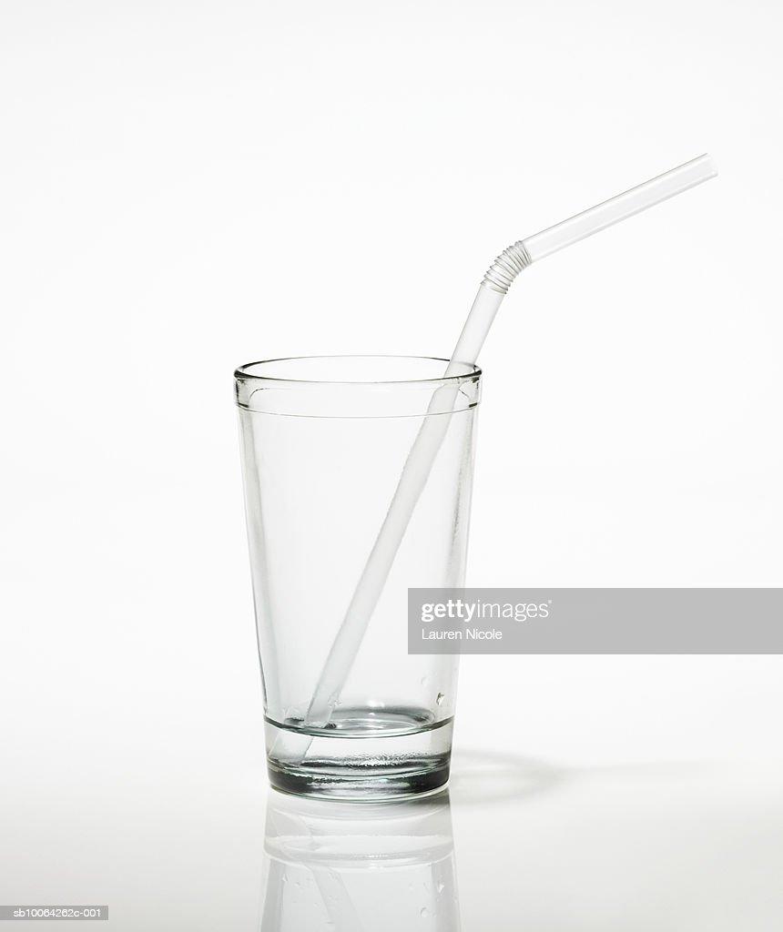 Glass with straw : Stock Photo