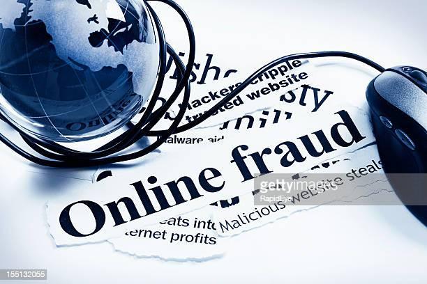 Glas Welt Globus und computer-Maus auf Online-Betrug Schlagzeilen
