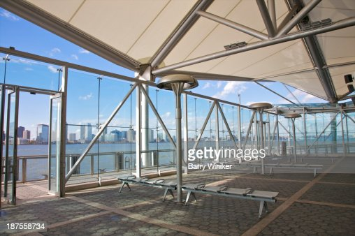 Glass-enclosed ferry terminal on Hudson River