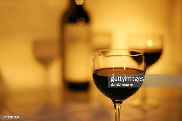 Glasses & Bottle of Red Wine with Light and Shadows