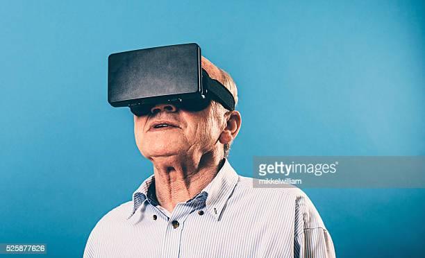 VR glasses gives senior man immersive experience