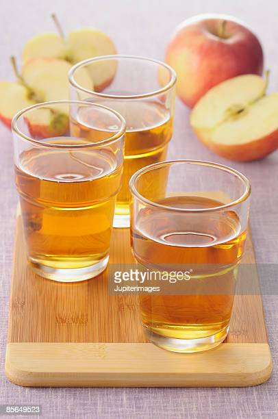 Glasses of apple juice