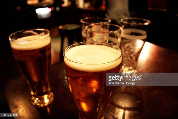 Glasses of beer at pub