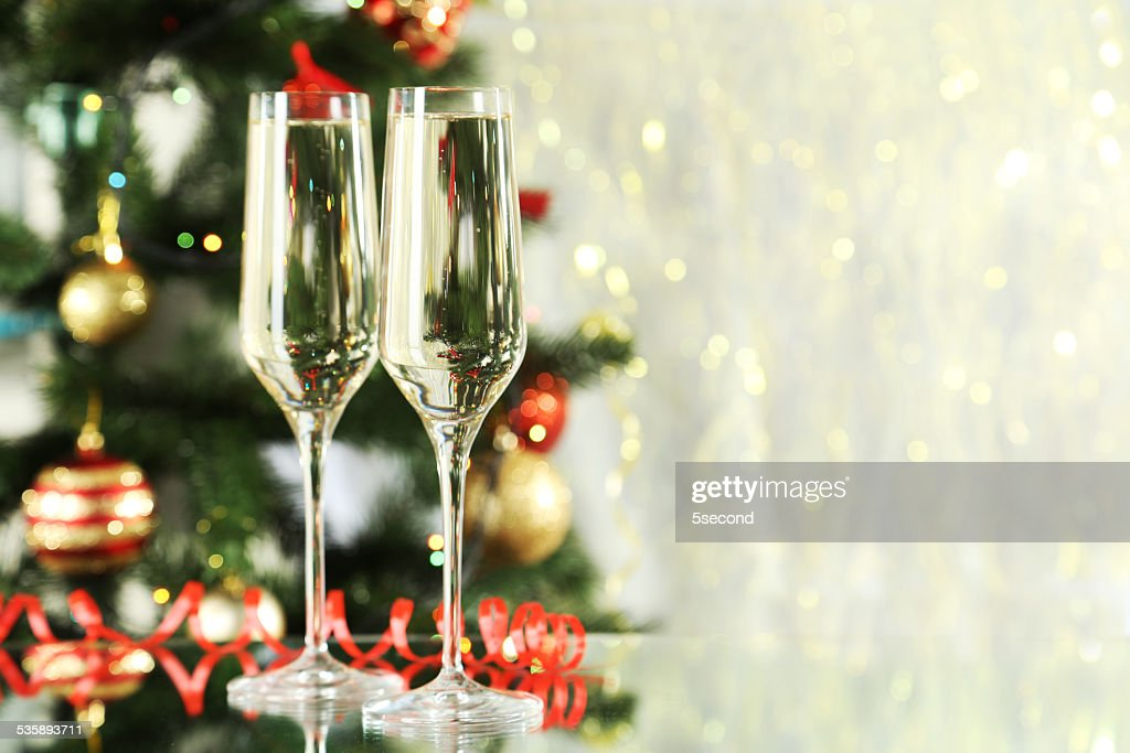 Glasses of champagne on a lights background : Stock Photo