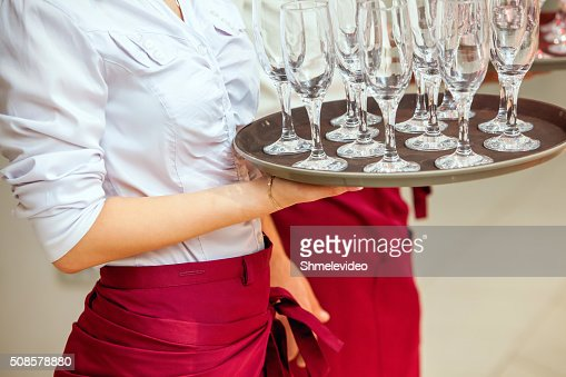 glasses of champagne on tray : Stock Photo