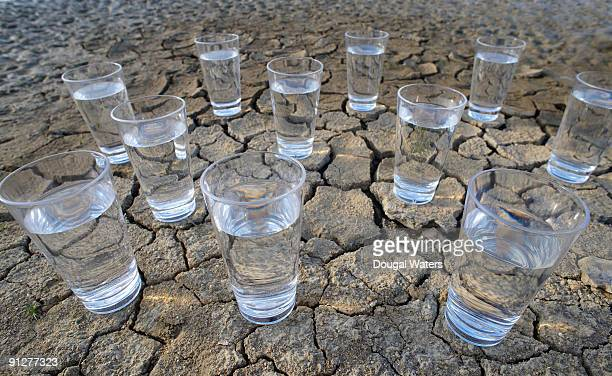 Glasses of water on cracked mud.