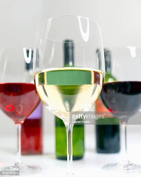 Glasses of White, Red and Rose wine