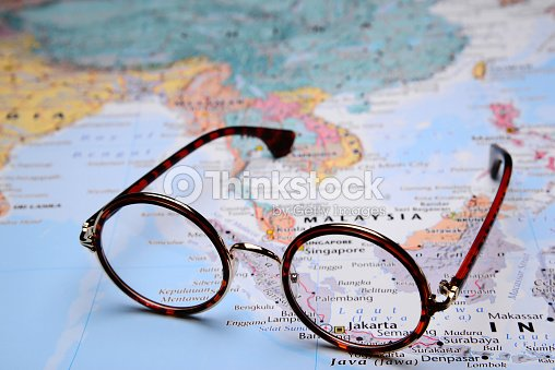Map Of Asia Jakarta.Glasses On A Map Of Asia Jakarta Stock Photo Thinkstock