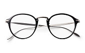 Round glasses on a white background with clipping path.