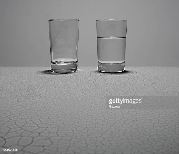 glasses on cracked surface