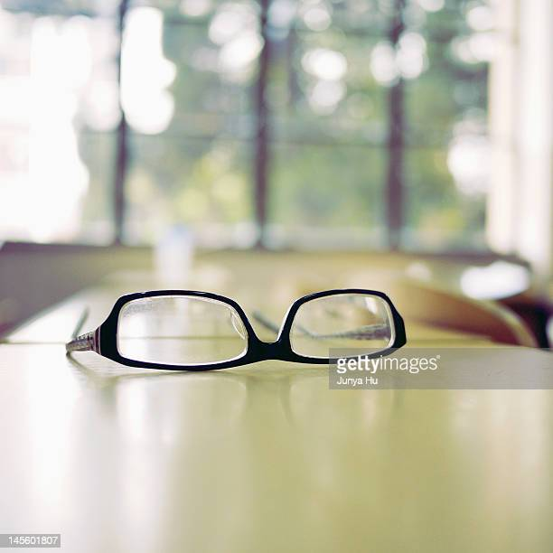 Glasses on desk