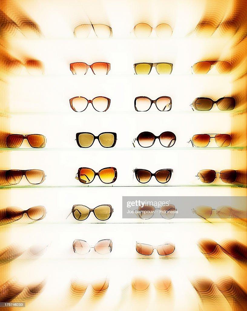 Glasses on display : Stock Photo