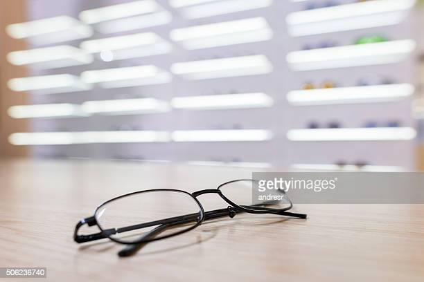 Glasses on the counter of an optics