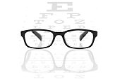 Clear black modern glasses on a eye sight test chart. Isolated on white background.