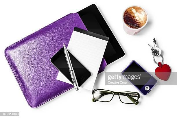 Glasses, smartphone, Tablet computer, keys