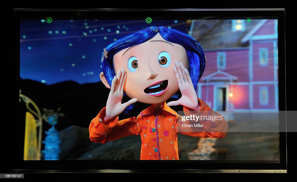 A glasses-free Toshiba 55-inch 3-D 4x full HD TV shows the movie, 'Coraline' at the 2012 International Consumer Electronics Show at the Las Vegas Convention Center January 11, 2012 in Las Vegas, Nevada. The TVs are scheduled to be available this year and will come with embedded cameras with facial recognition capability so depending on where you are sitting, the set will adjust the viewing point for the best 3-D experience. CES, the world's largest annual consumer technology trade show, runs through January 13 and features more than 3,100 exhibitors showing off their latest products and services to about 140,000 attendees.