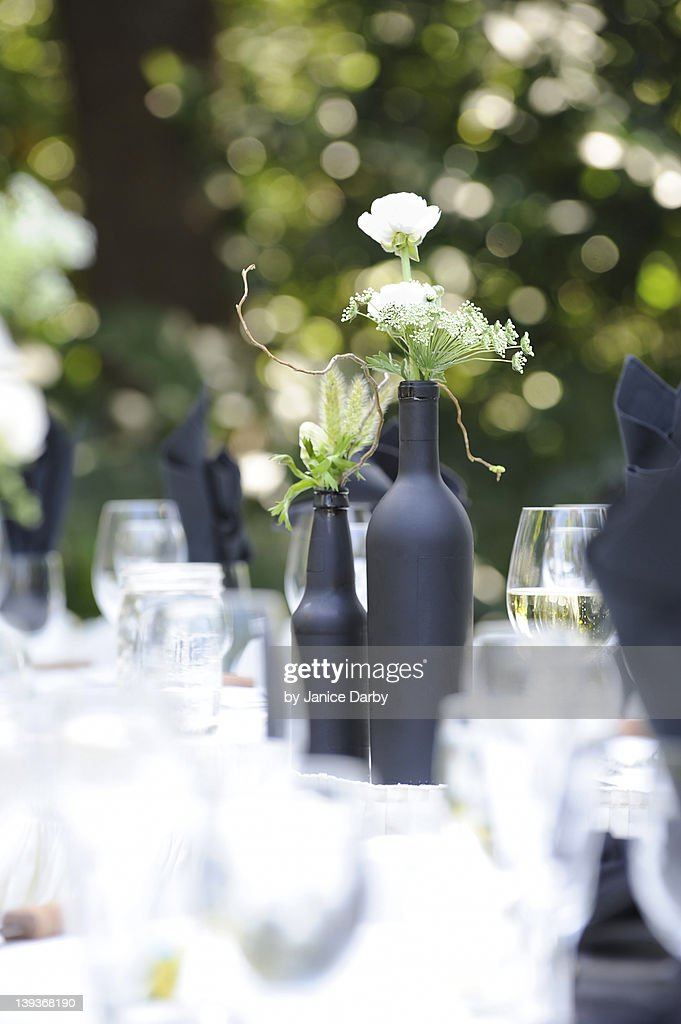 Glassware and centerpieces on table