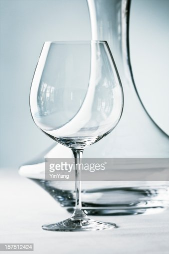 Glassware - Stemware- Wineglass and Decanter Close-up