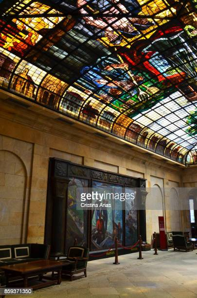Glasswork inside The Assembly House Casa de Juntas House of the historical archive of the Basque Country on 19 June 2017 GernikaLumo Basque Country...