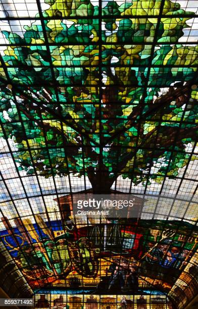 Glasswork insnside Casa de Juntas House of the historical archive of the Basque Country on 19 June 2017 GernikaLumo Basque Country Spain