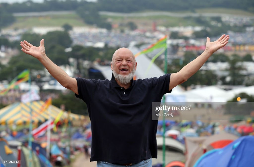 Glastonbury Festival founder Michael Eavis gestures as he holds a press conference at the Glastonbury Festival of Contemporary Performing Arts site at Worthy Farm, Pilton on June 30, 2013 near Glastonbury, England. Gates opened on Wednesday at the Somerset diary farm that will be playing host to one of the largest music festivals in the world and this year features headline acts Artic Monkeys, Mumford and Sons and the Rolling Stones. Tickets to the event which is now in its 43rd year sold out in minutes and that was before any of the headline acts had been confirmed. The festival, which started in 1970 when several hundred hippies paid 1 GBP to watch Marc Bolan, now attracts more than 175,000 people over five days.