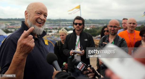 Glastonbury Festival founder Michael Eavis speaks to the media at a press conference at the Glastonbury Festival of Contemporary Performing Arts site...