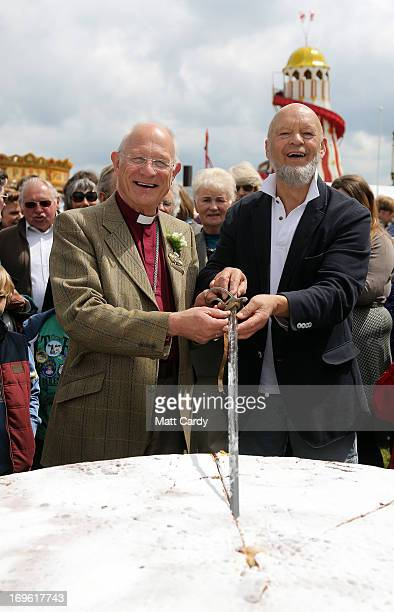Glastonbury Festival founder Micheal Eavis and the Bishop of Bath and Wells The Rt Revd Peter Price cut a giant cake to open the Royal Bath and West...