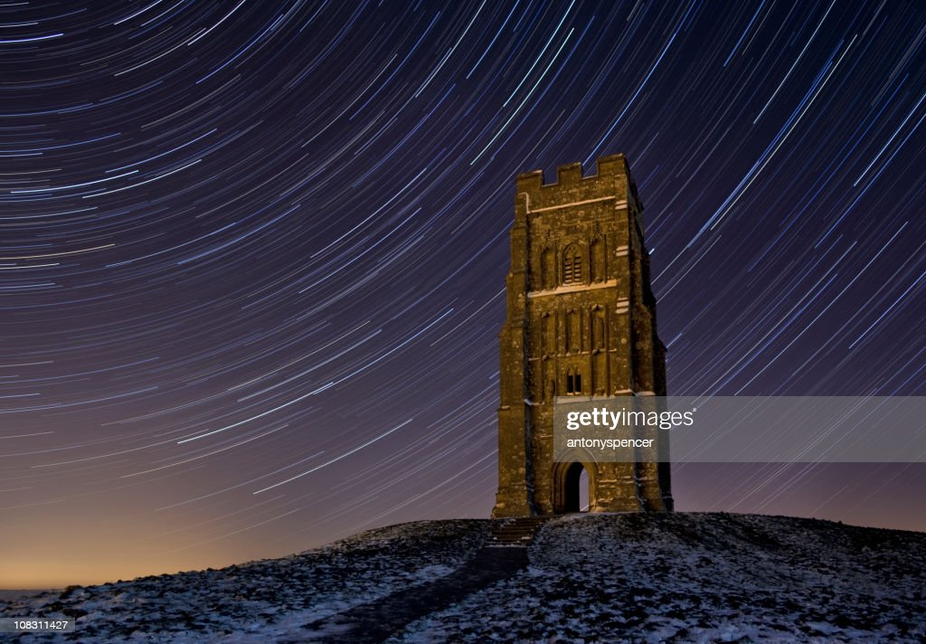 Glastonbury Tor Startrail : Stock Photo