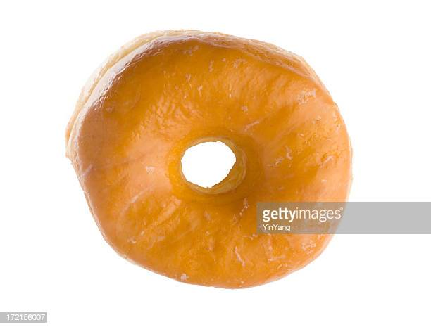 Glazed Donut, Unhealthy, Sugary Baked Pastry Breakfast Food on White