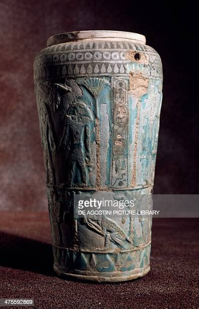 Glazed earthenware vase of Egyptian origin from the Tomb of Bocchoris in Tarquinia Tarquinia Museo Archeologico
