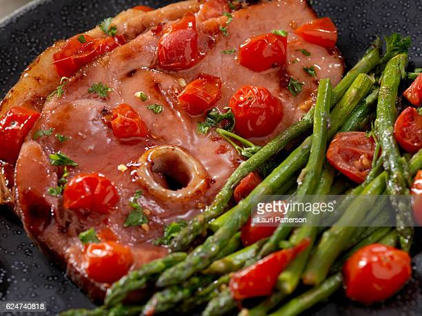 Glazed Ham Steak with Asparagus and Tomatoes