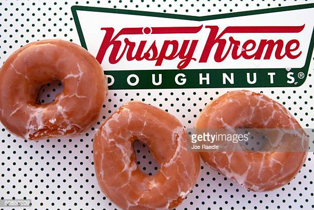 Glazed Krispy Kreme doughnuts are seen May 17 2004 in Miami Florida Krispy Kreme Doughnuts Inc last week said that the lowcarb diet trend has hurt...