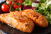 Glazed salmon fillet with sesame close-up on a plate. horizontal