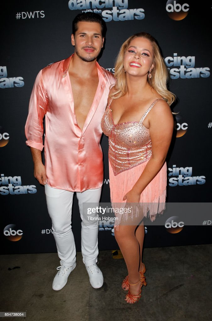 Gleb Savchenko and Sasha Pieterse attend 'Dancing With The Stars' season 25 taping at CBS Televison City on September 26, 2017 in Los Angeles, California.