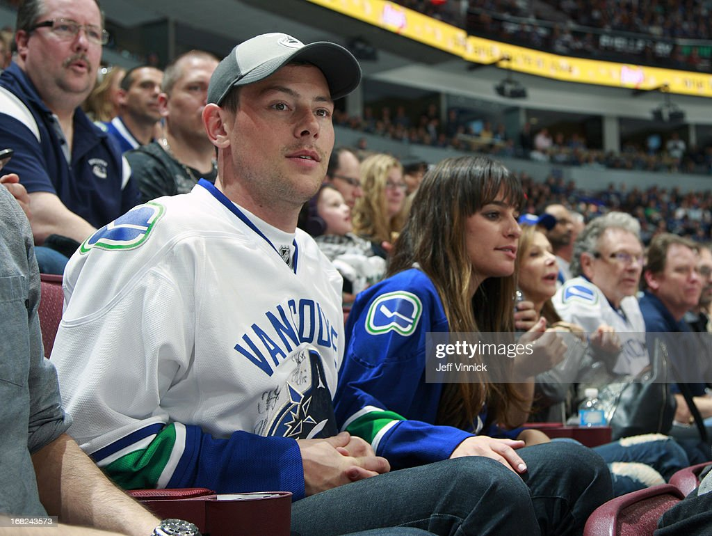 Glee stars Cory Monteith and Lea Michele watch the Vancouver Canucks and San Jose Sharks in Game Two of the Western Conference Quarterfinals during the 2013 NHL Stanley Cup Playoffs at Rogers Arena on May 3, 2013 in Vancouver, British Columbia, Canada.