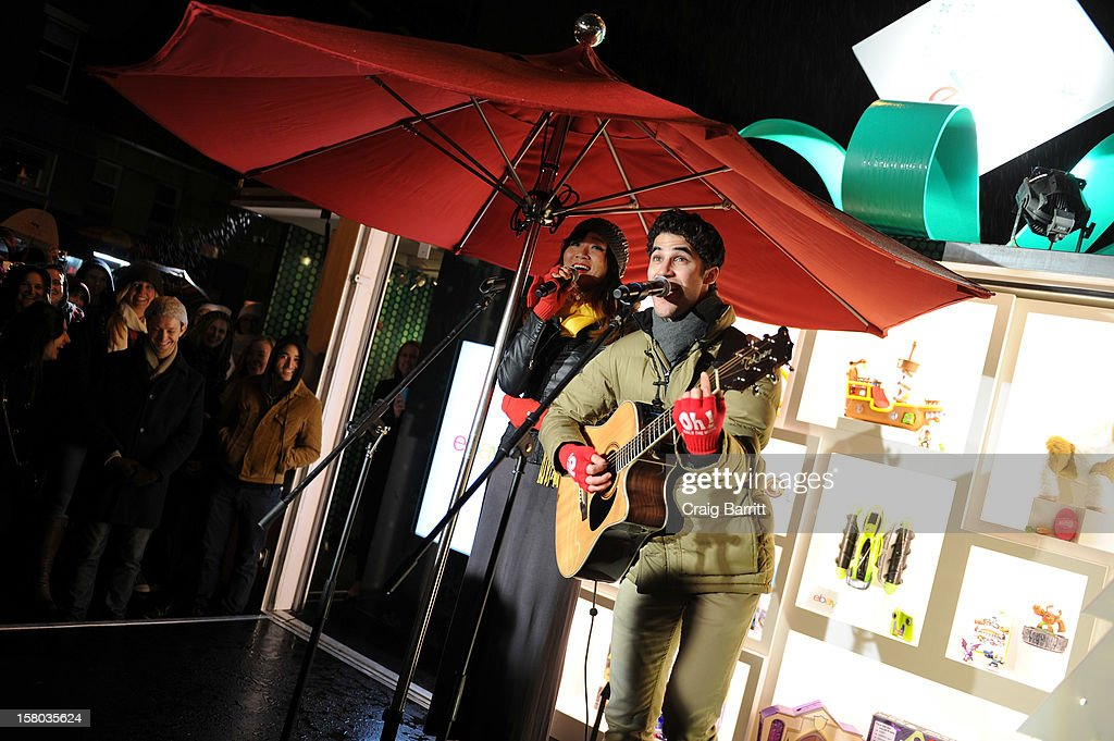 Glee's Darren Criss and Charlene Kaye perform Holiday Concert at The eBay Toy Box, which gives people a new way to give to Toys For Tots on December 9, 2012 in New York City.