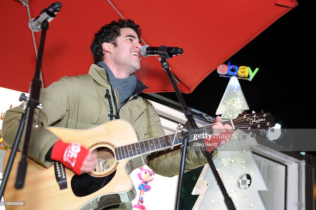 Glee's Darren Criss performs a holiday concert at The eBay Toy Box, which gives people a new way to give to Toys For Tots on December 9, 2012 in New York City.
