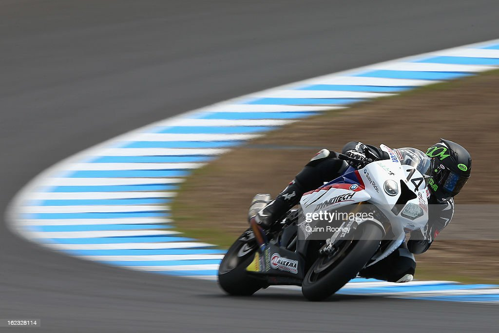 Glen Allerton of Australia riding the #14 Next Gen Motorsports BMW during Qualifying ahead of the World Superbikes at Phillip Island Grand Prix Circuit on February 22, 2013 in Phillip Island, Australia.