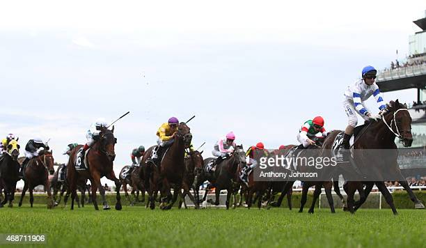 Glen Boss rides Kermadec to win race 9 The Doncaster Mile during Sydney Racing at Royal Randwick Racecourse on April 6 2015 in Sydney Australia