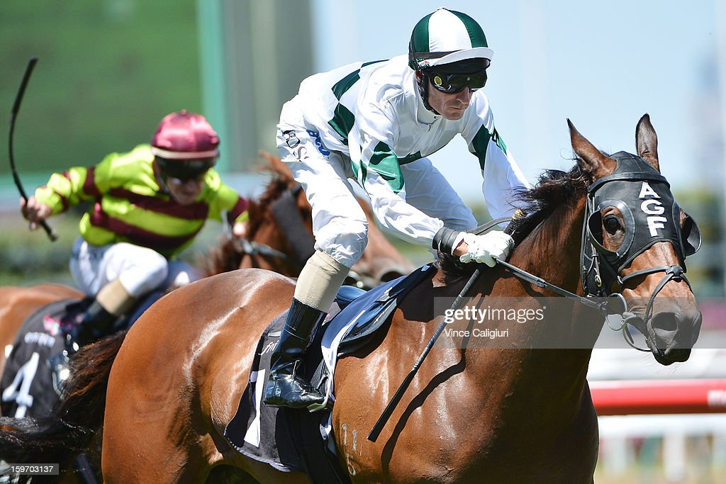 <a gi-track='captionPersonalityLinkClicked' href=/galleries/search?phrase=Glen+Boss&family=editorial&specificpeople=194758 ng-click='$event.stopPropagation()'>Glen Boss</a> riding First Command wins the Kensington Stakes during Melbourne racing at Flemington Racecourse on January 19, 2013 in Melbourne, Australia.