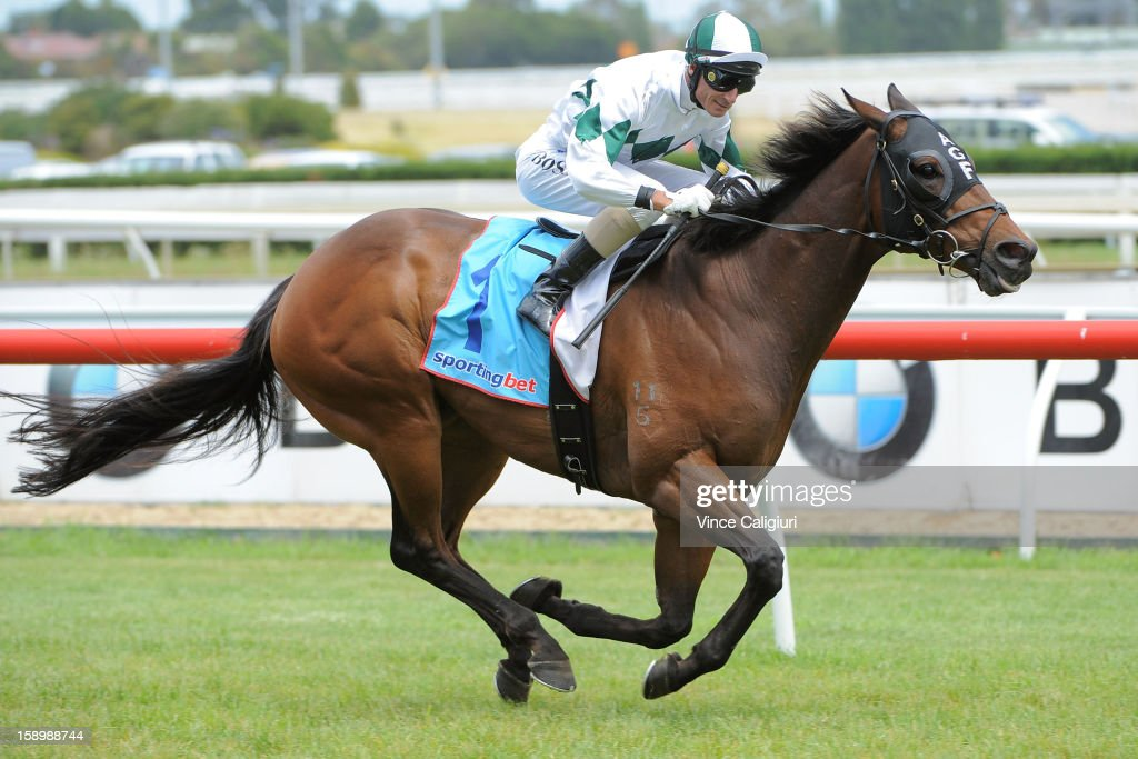 <a gi-track='captionPersonalityLinkClicked' href=/galleries/search?phrase=Glen+Boss&family=editorial&specificpeople=194758 ng-click='$event.stopPropagation()'>Glen Boss</a> riding First Command wins the Mal Seccull Handicap during Caulfield racing at Caulfield Racecourse on January 5, 2013 in Melbourne, Australia.