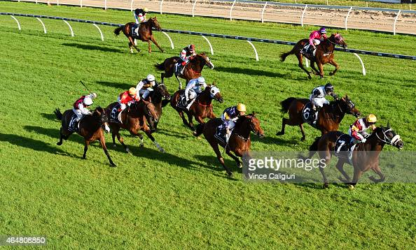 Glen Boss riding Indix Linked wins Race 9 during Blue Diamond Day at Caulfield Racecourse on February 28 2015 in Melbourne Australia