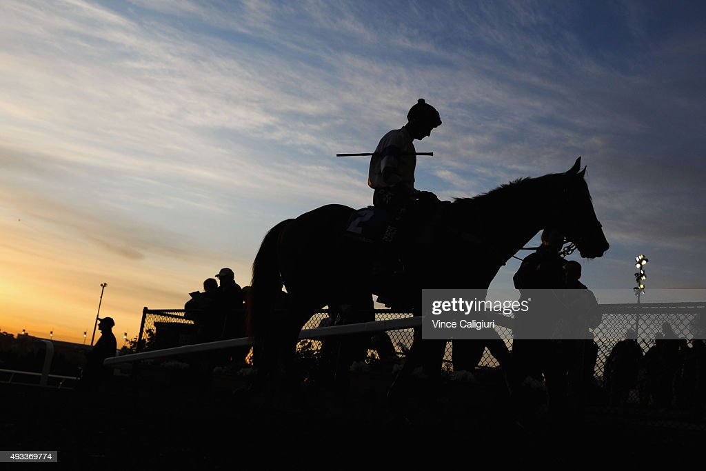 Glen Boss riding Kermadec walks off the track after the Cox Plate Breakfast With The Stars gallops at Moonee Valley Racecourse on October 20, 2015 in Melbourne, Australia.
