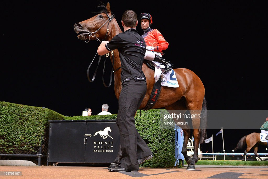 Glen Boss riding Lady Melksham after winning the Essendon Mazda 55 Second Challenge Heat 17 during Melbourne racing at Moonee Valley Racecourse on March 15, 2013 in Melbourne, Australia.