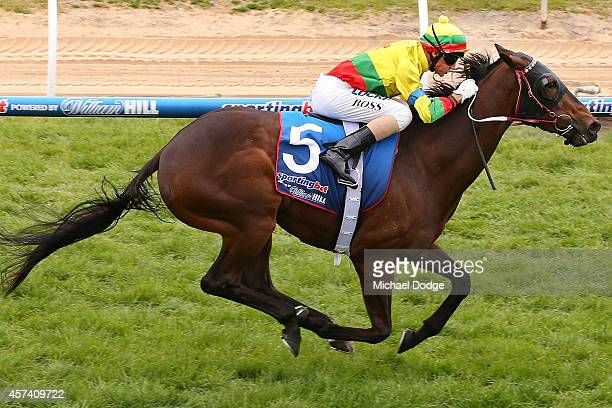 Glen Boss riding Lucky Hussler wins Race 5 the Sportingbet Moonga Stakes during Caulfield Cup Day at Caulfield Racecourse on October 18 2014 in...
