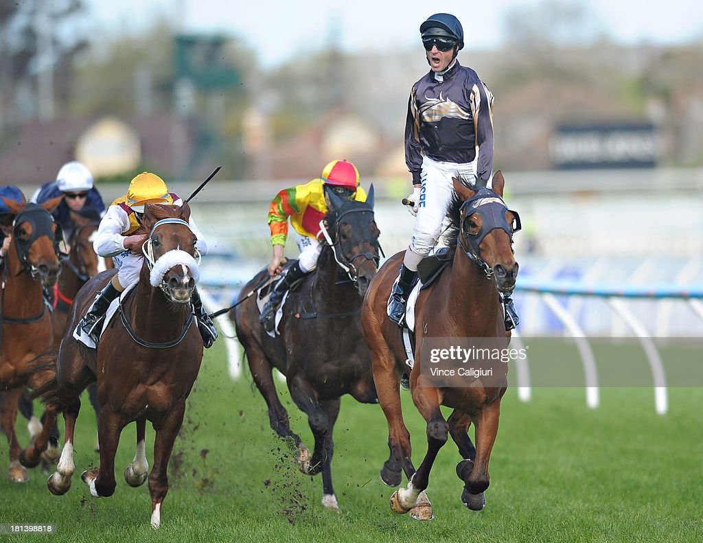 <a gi-track='captionPersonalityLinkClicked' href=/galleries/search?phrase=Glen+Boss&family=editorial&specificpeople=194758 ng-click='$event.stopPropagation()'>Glen Boss</a> riding Mr O'ceirin celebrates winning the D'urban Naturalism Stakes during Melbourne Racing at Caulfield Racecourse on September 21, 2013 in Melbourne, Australia.